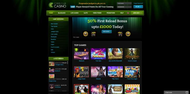 cyber club casino homepage