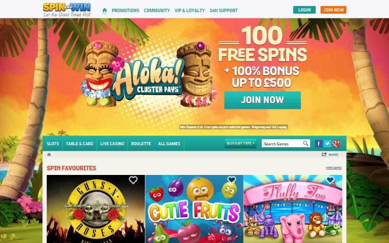 spin and win casino homepage